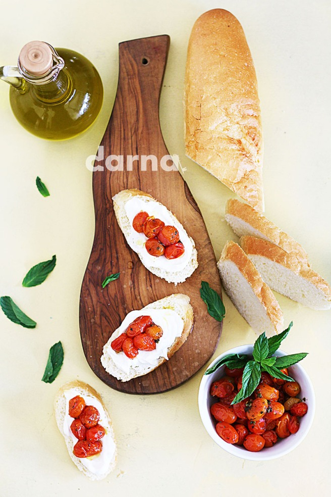 Labaneh and roasted tomato bruchetta